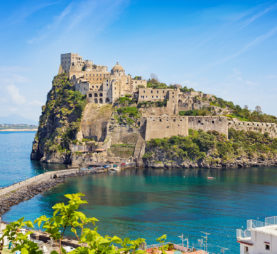 Aragonese Castle located in Tyrrhenian sea