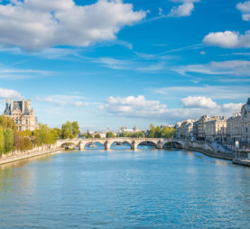 Paris cityscape with view over Seine river on Grand Palais and Quai d'Orsay