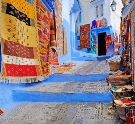Tapestries in Moroccan market
