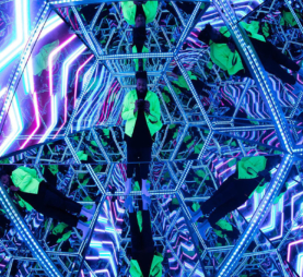 A photo taken inside of the infinity cube at Dave Cicirelli's art installation, Vanity Project.