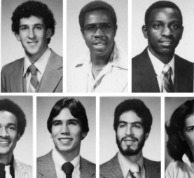 A photo collage of Jay Stewart (top row, center) flanked by Ethan Grodofsky (left) and Gary Way (right). Bottom row, left to right: Alton Dixson, Chris Jansen, Larry Landau, and Miriam Diaz-Gilbert.