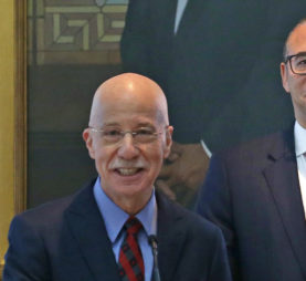 Rutgers Board of Directors Chair Mark Angelson and Rutgers President Jonathan Holloway