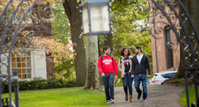 Students walk through Rutgers campus