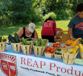 a rutgers student in a farmers market