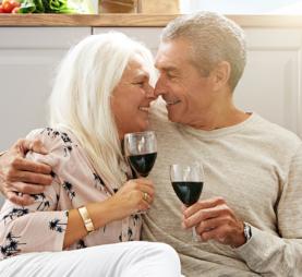 Elderly couple on a kitchen floor